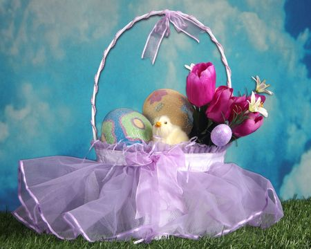Easter basket in an outdoor setting Stock Photo
