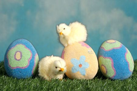 Easter eggs and baby chicks in the grass