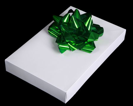 sweetest: White gift box with green bow