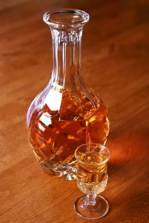 Whiskey, scotch or bourbon in a decanter photo