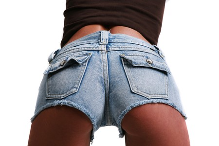 butt tight jeans: Rear view of female in short shorts Stock Photo