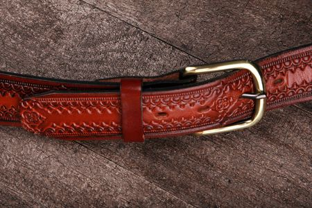 tooled: Closeup of a western or cowboy belt Stock Photo