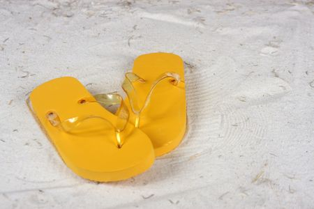 flops: Flip flops  on the beach - horizontal image Stock Photo