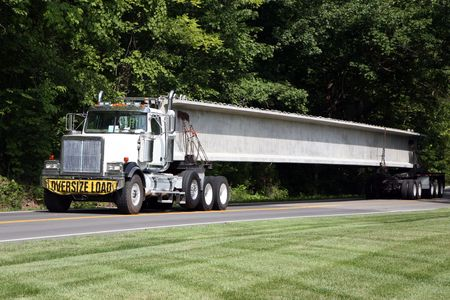 Transporting highway bridge supports