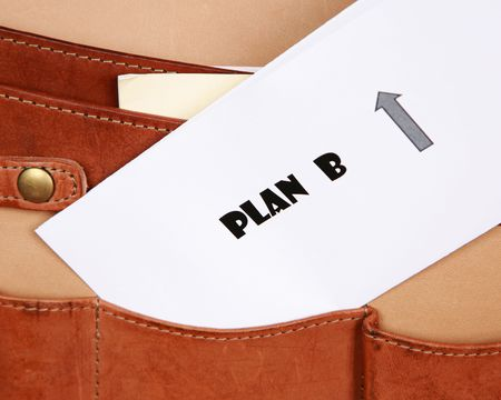 PLAN B documents in a leather briefcase