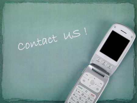 CONTACT US with phone and copy space Stock Photo