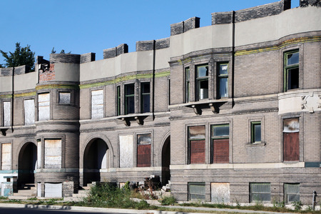 Abandoned apartment building in Detroit, Michigan.