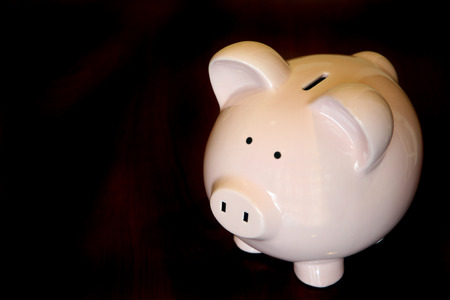 bringing: Savings bank set agsinst a dark wood background