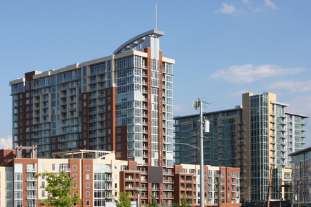 Newly constructed condominium and apartment buildings Stock Photo