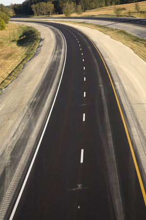 Aerial view of a new highway Stock Photo