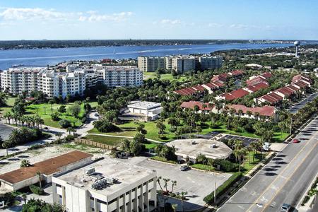 shores: Aerial view of Daytona Beach Shores, Florida Stock Photo
