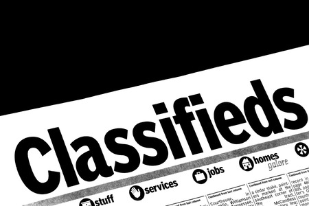 classifieds: Classified advertising in a newspaper Stock Photo