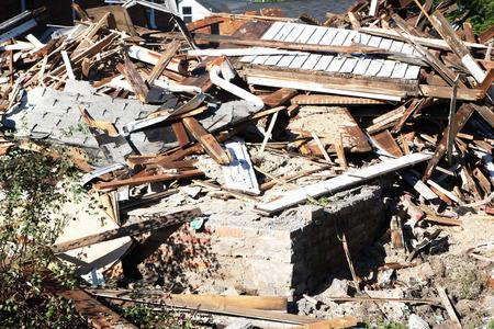 earthquake crack: Demolished building rubble