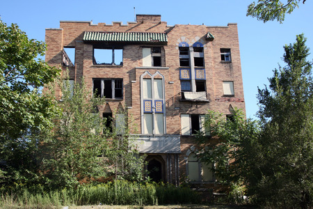 blight: abandoned apartment building Stock Photo