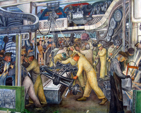 lopende band: Diego Rivera muurschildering van een auto-assemblagelijn Redactioneel