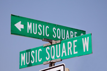 Music Square sign in Nashville, Tennessee Stockfoto