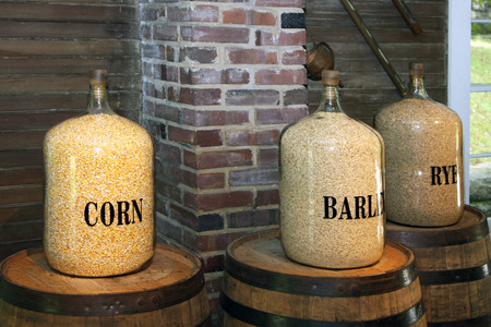 Rye, corn and barley stored in glass containers. Stok Fotoğraf