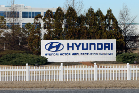 car manufacturing: MONTGOMERY, AL-CIRCA JANUARY 2015: Hyundai assembly plant in Montgomery, Alabama.  The plant is one of the highest output auto factories in the United States.