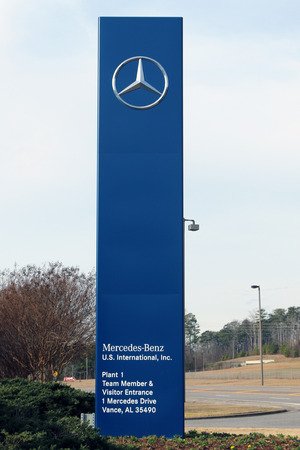 benz: VANCE, AL-CIRCA JANUARY 2015: Mercedes Benz has started production of its new C Class sedan at the Alabama manufacturing complex Editorial
