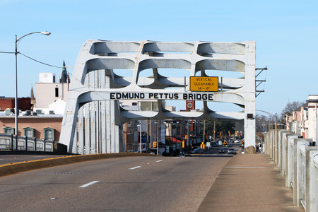 SELMA, AL-CIRCA JANUARY 2015: Historic Edmund Pettus bridge in Selma which recently celebrated its 50th anniversary of the Martin Luther King Jr. march for civil rights.