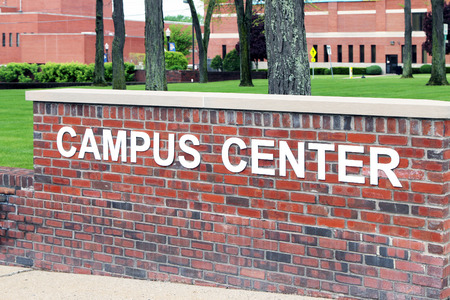 flint: FLINT, MICHIGAN-JUNE, 2015:  Sign for the Campus Center at Kettering University.  Kettering was formerly known as General motors Institute.