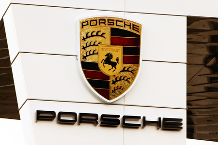 real world: ATLANTA, GA-AUGUST, 2015:  Sign for the newly constructed headquarters for Porsche in the USA.  The facility also includes a race track where prospective customers can test drive a new Porsche in a real world environment.