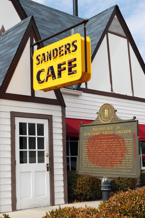 colonel: CORBIN, KY-MAY, 2015:  Sanders Cafe in Corbin, Kentucky is the original home of Colonel Sanders Kentucky Fried Chicken.  It is still an operating KFC along with a small museum devoted to all things KFC.