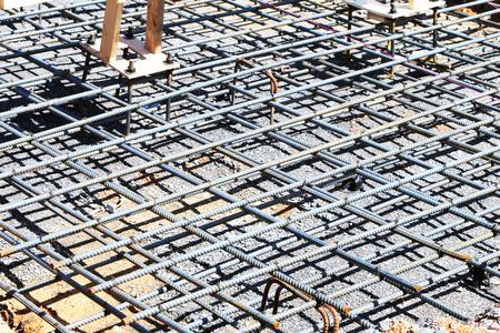 cement pile: Preparing to pour reinforced concrete for a building foundation.
