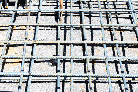 job site: Steel rebar for reinforced concrete at the job site.