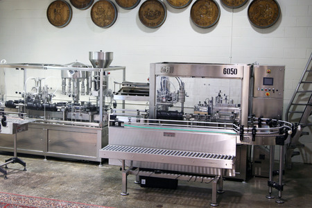 bottling: CLARKSVILLE, TN-MAY, 2015:  Bottling line at the Beachaven Winery.
