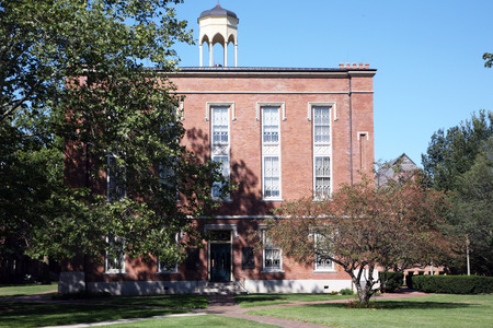 college: GALESBURG, IL-MAY, 2015:  Knox College, a small liberal arts college founded in 1837.  The Abraham Lincoln and Stephen Douglas debates were held on the campus in 1858. Editorial
