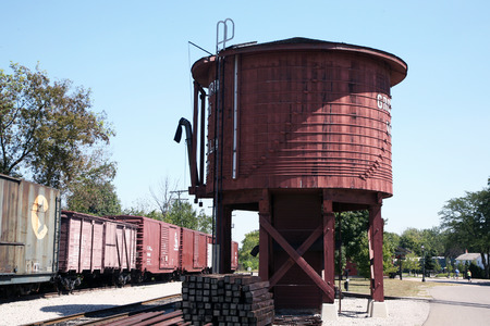 wood railroad: DEARBORN, MI-MAY, 2015:  Water tank for a steam locomotive at Greenfield Village.  Steam locomotives required regular supply of water along the route. Editorial