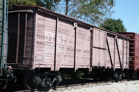 boxcar train: DEARBORN, MI-MAY, 2015:  Vintage railroad box car made out of wood at Greenfield Village in Dearborn, michigan.