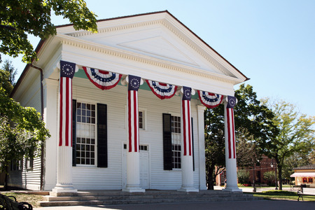 latter: DEARBORN, MI-MAY, 2015:  Typical Town Hall building from the latter part of the 18th century.