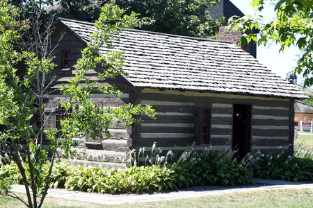 restored: DEARBORN, MI-MAY, 2015:  Generic log cabin in a restored condition.