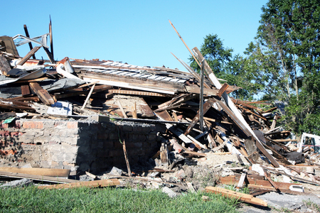 decimated: Tornado damaged home.  The twister destroyed this single family home.