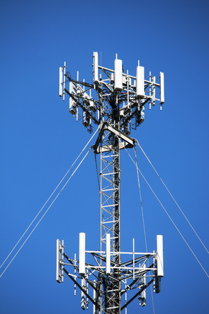 Closeup of a radio or cell communications tower Standard-Bild - 106852496