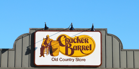 NASHVILLE, TENNESSEE-DECEMBER 30, 2017:  Sign for Cracker Barrel Old Country Store, a chain of over 600 southern themed restaurants and gift shops.