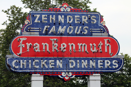 FRANKENMUTH, MICHIGAN-DECEMBER 30, 2017:  Zhender's Famous Frankenmuth Chicken Dinners is a Frankenmuth landmark, having served family style dinners for over 60 years.  It is one of the largest restuarants in the USA with 1500 seats.