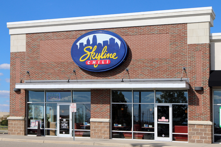 CINCINNATI, OHIO-DECEMBER 30, 2017:  Skyline Chili is a chain of  restaurants founded in 1949 and headquartered in Cincinnati. They features chili.  There are over 150 restuarnats in the midwest.