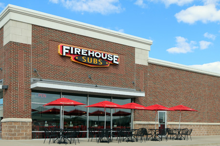 LEXINGTON, KENTUCKY-DECEMBER 30, 2017:  Firehouse Subs is a chain of fast casual restaurants started by 2 former firemen.  They have over 1100 branches throughout the USA, Puerto Rico, Canada and Mexico.