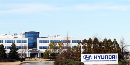 MONTGOMERY, ALABAMA-DECEMBER 26, 2017: Headquarters for the Hyundai automotive assembly plant in Montgomery, Alabama. The plant recently celebrated the assembly of their 5,000,000th car.