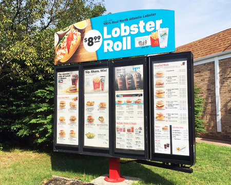 HYANNIS, MASSACHUSETTS-DECEMBER 30, 2017:  Sign for a McDonald's lobster roll.  This is a specialty product available only in New England.