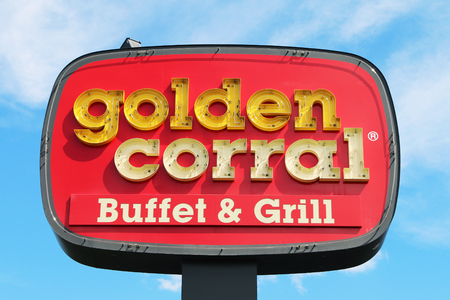 NASHVILLE, TENNESSEE-DECEMBER 30, 2017:  Sign for the Golden Corral Buffet & Grill.  Golden Corral is a chain of all-you-can-eat buffet restaurants.