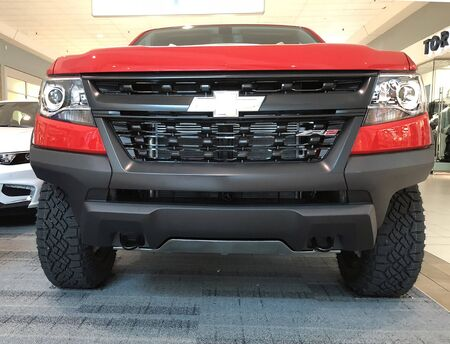 New Chevrolet Silverado on display at a local mall.  Image is a close-up of the front end of the truck.