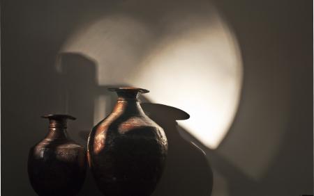 素朴なブリキの壷 写真素材