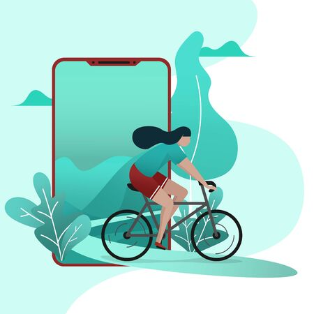 Minimal green color modern design of a woman while riding bicycle came out from the mobile phone which show green landscape view of  minimal tree design Ilustração