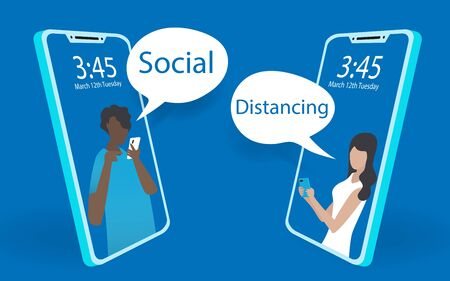 Abstact mobile phone view of a man and woman using mobile phone chatting together. Social distancing by using mobile phone on minimal blue background. Minimal modern design illustrator vector. Vectores