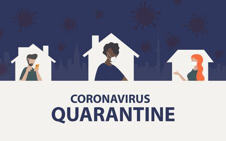 Self quarantine at home in coronavirus crisis situation. Home quarantine with people self isolation in home with background of city and coronavirus cover-19 in sky Vecteurs