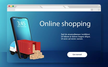 Online shopping Website landing page. Many boxes deliver from online shopping delivery direct to home on mobile phone. Container truck delivery.